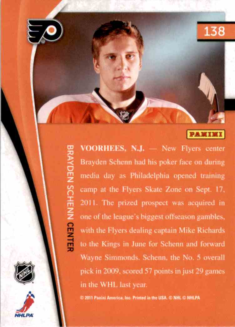 2011-12 Pinnacle Brayden Schenn #138 card back image