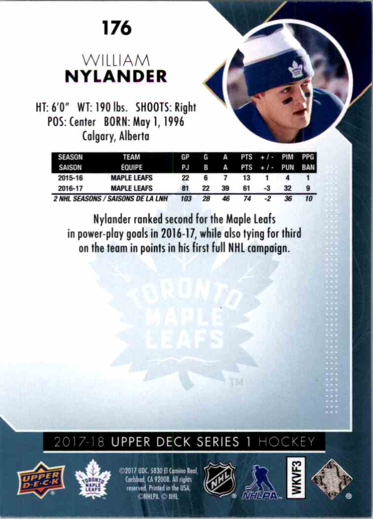 2017-18 Upper Deck Series 1 William Nylander #176 card back image
