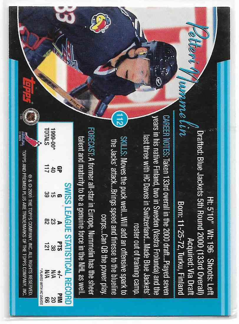 2000-01 Topps Premier Petteri Nimmelin #112 card back image