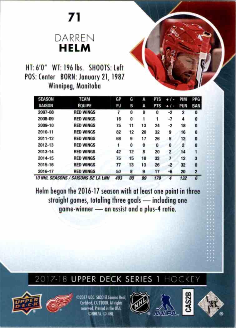 2017-18 Upper Deck Series 1 Darren Helm #71 card back image