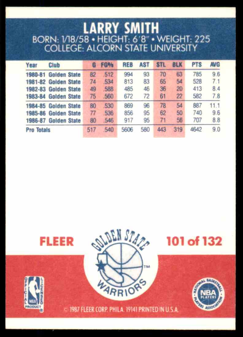 1987-88 Fleer Basketball Larry Smith #101 card back image