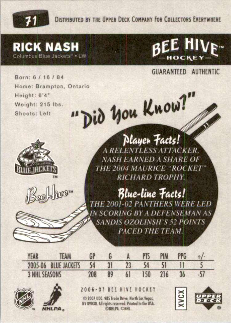 2006-07 Upper Deck Beehive Rick Nash #71 card back image