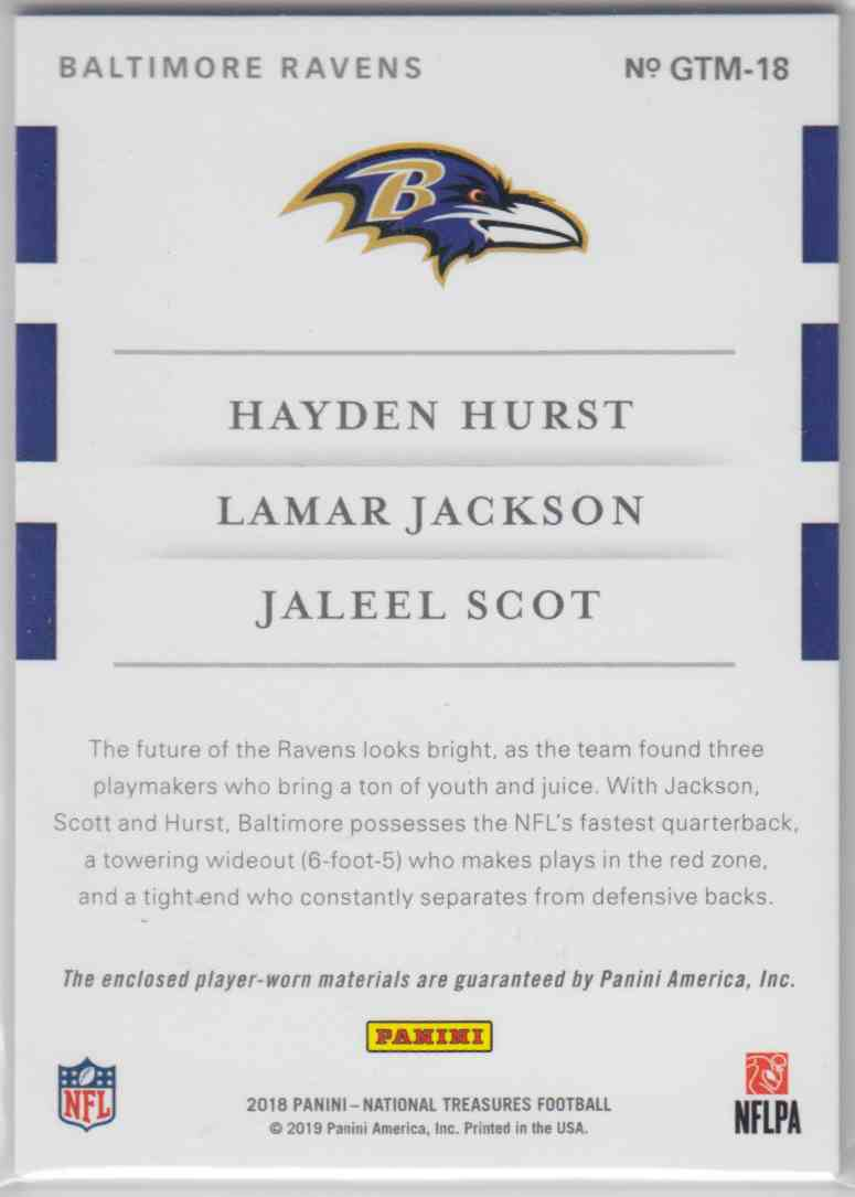 2018 Panini National Treasures Rookie NFL Gear Trio Materials Hayden Hurst, Lamar Jackson, Jaleel Scot #GTM-18 card back image