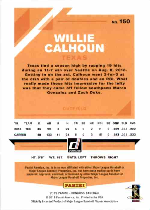 2019 Donruss Willie Calhoun #150 card back image