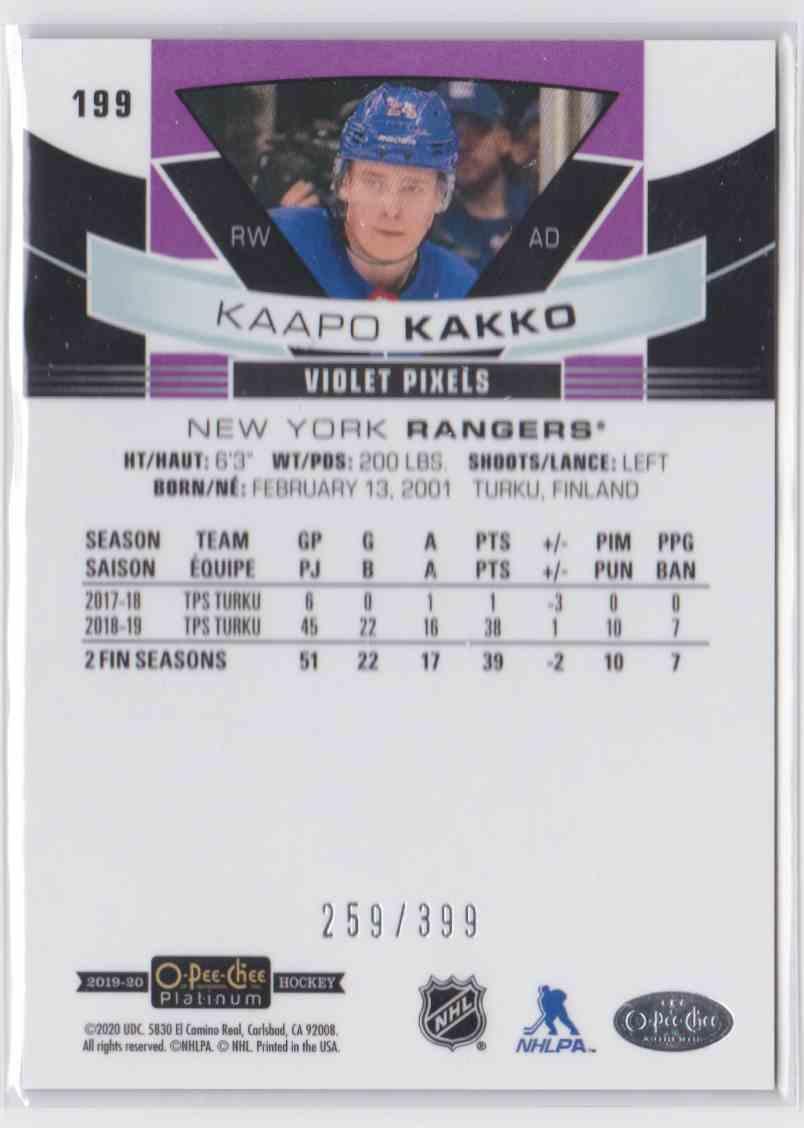2019-20 Upper Deck Hockey O-Pee-Chee Platinum Kaapo Kakko - Violet Pixels #199 card back image