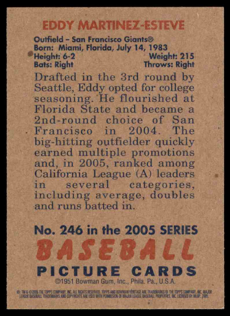 2005 Bowman Heritage Eddy Martinez Fy RC #246 card back image
