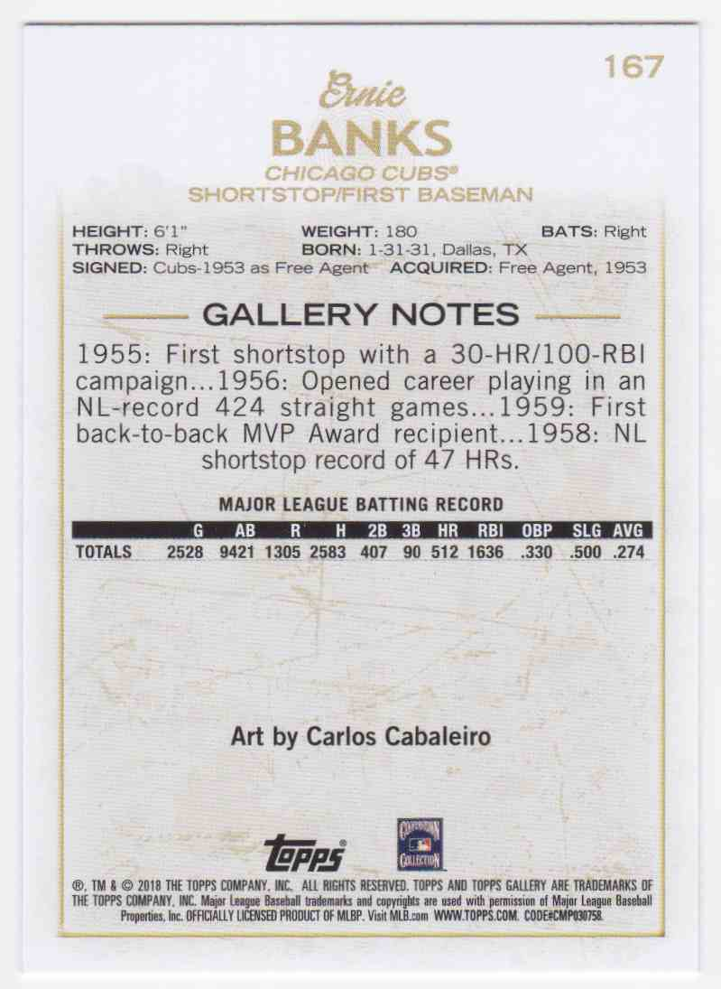 2018 Topps Gallery SP Ernie Banks #167 card back image