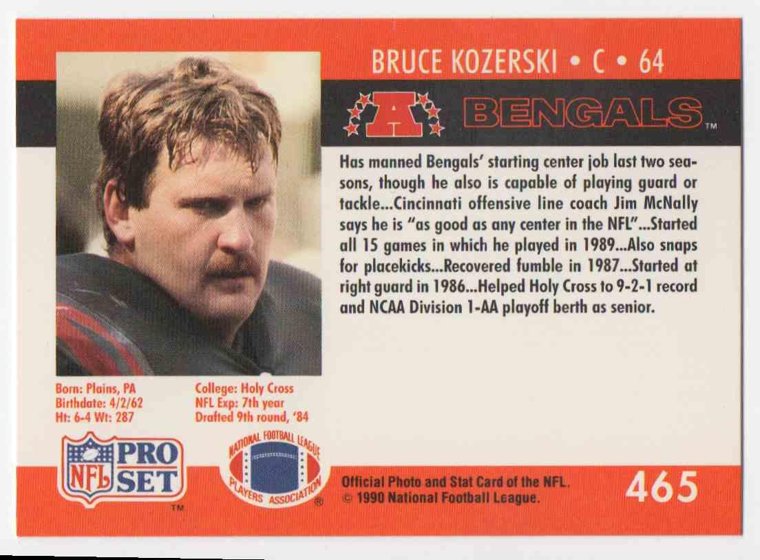 1990 Pro Set Bruce Kozerski #465 card back image