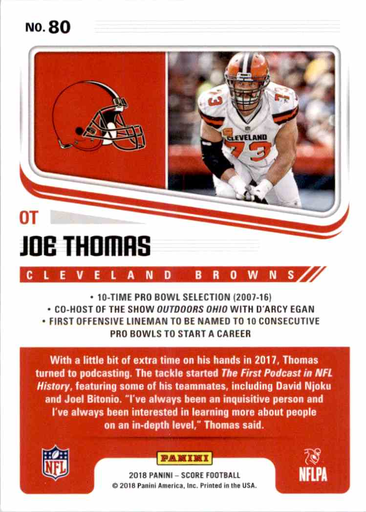 2018 Panini Score Joe Thomas #80 card back image