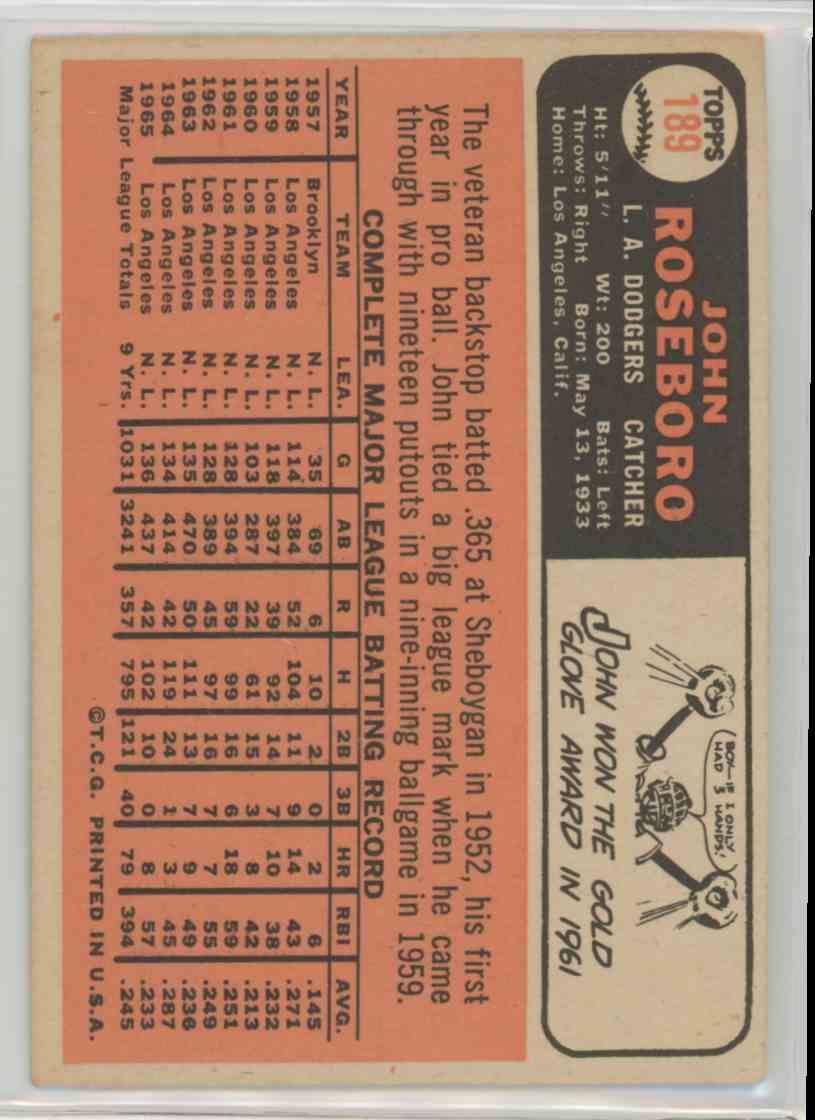 1966 Topps John Roseboro #189 card back image