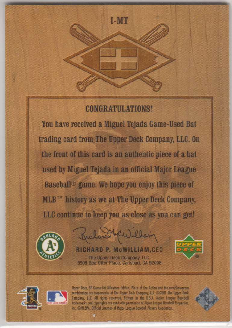 2001 SP Game Bat Milestone Piece Of Action International Miguel Tejada #I-MT card back image