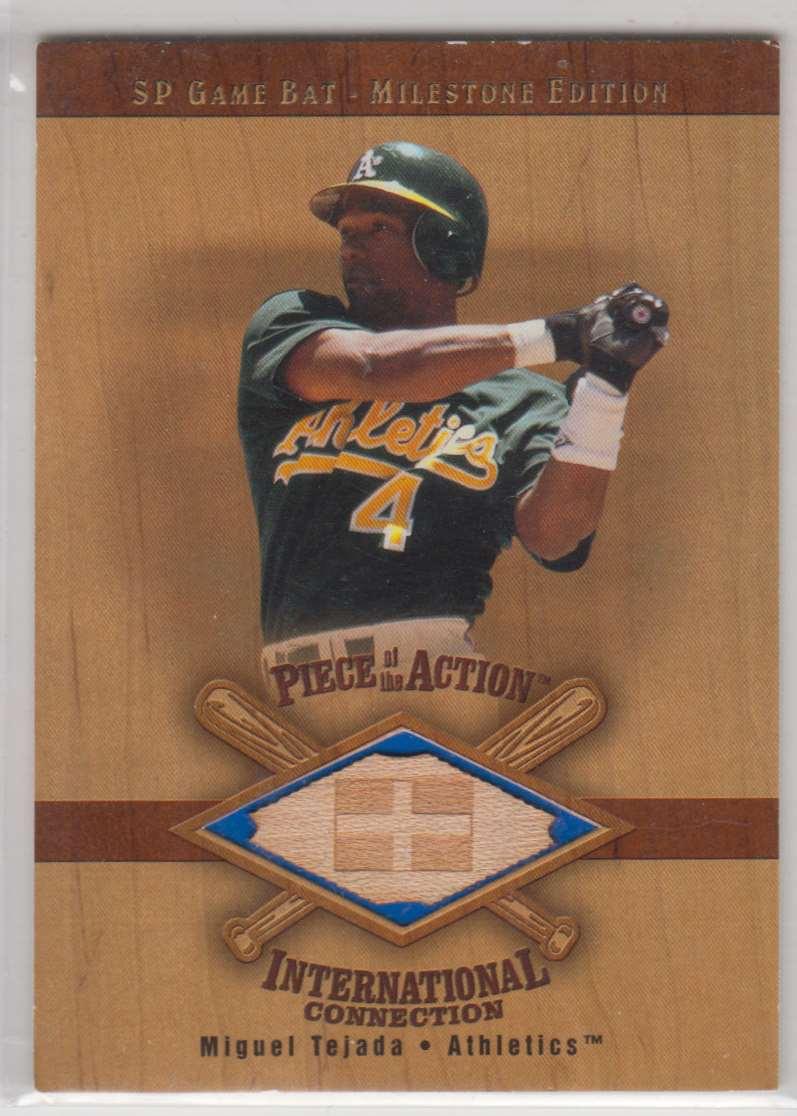 2001 SP Game Bat Milestone Piece Of Action International Miguel Tejada #I-MT card front image