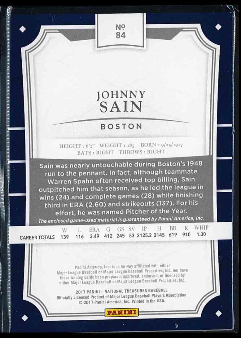 2017 Panini National Treasures Johnny Sain #84 card back image