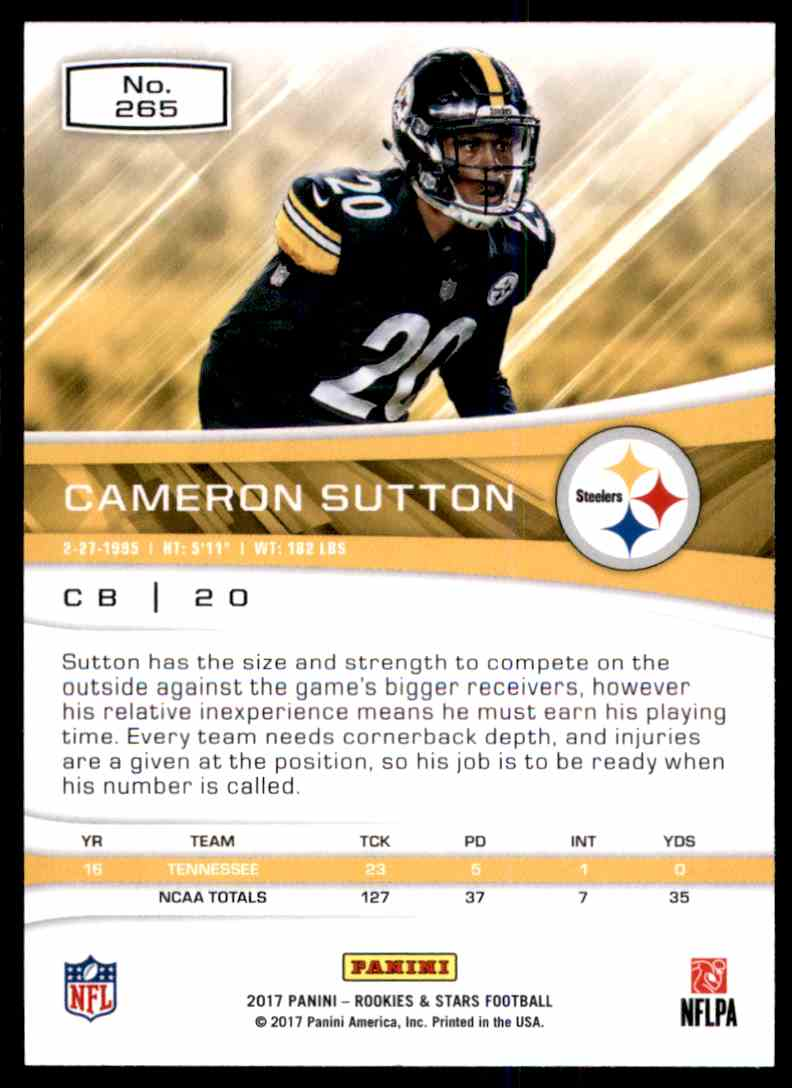 2017 Rookies And Stars Cameron Sutton #265 card back image