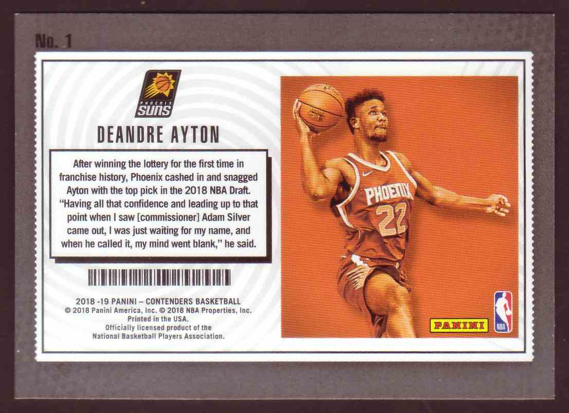 2018-19 Panini Contenders Lottery Tickets DeAndre Ayton #1 card back image