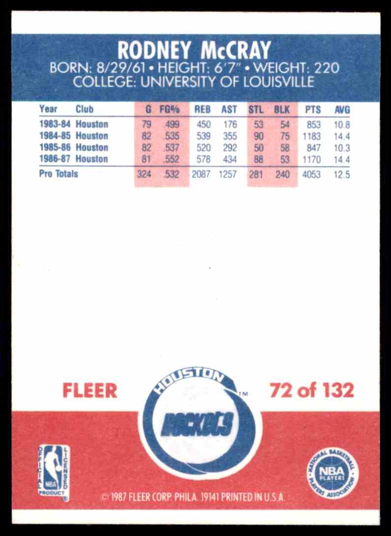 1987 88 Fleer Rodney McCray 72 on Kronozio