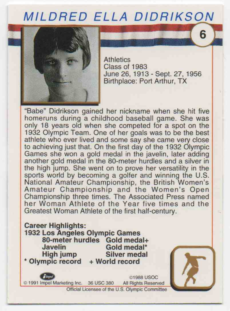 1991 Impel U.S. Olympic Hall Of Fame Babe Didrikson #6 card back image