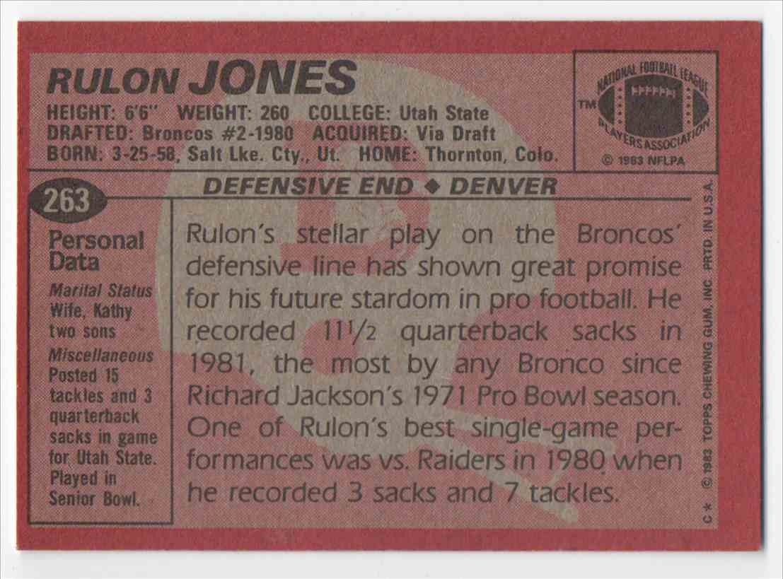 1983 Topps Rulon Jones #263 card back image