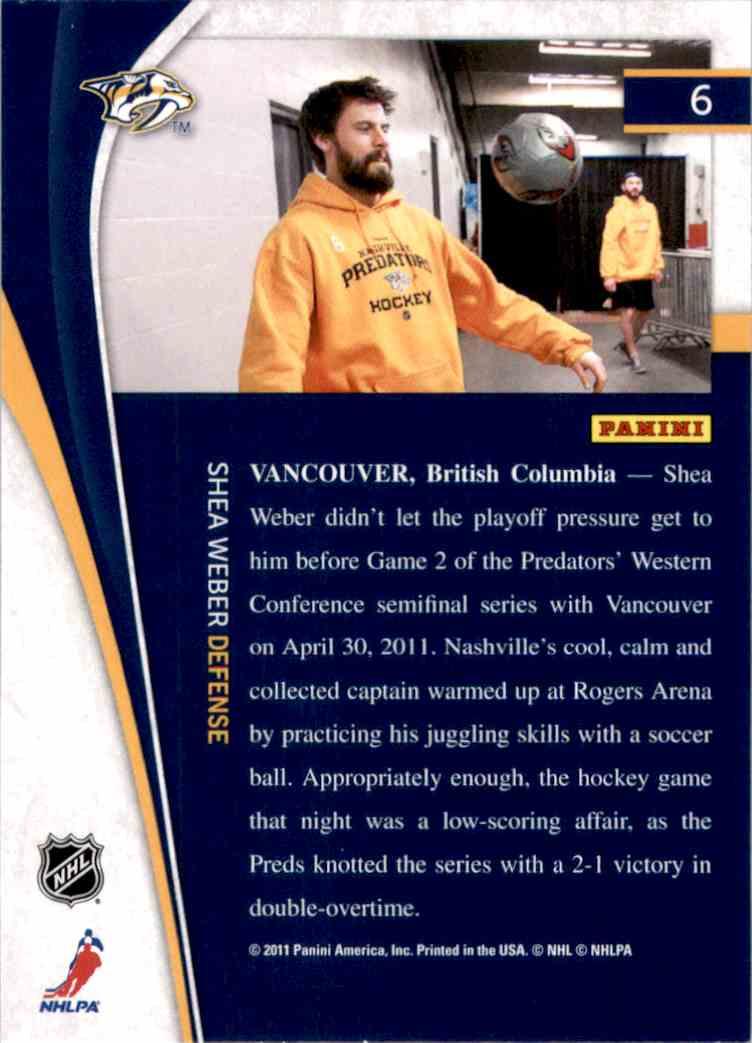 2011-12 Pinnacle Shea Weber #6 card back image