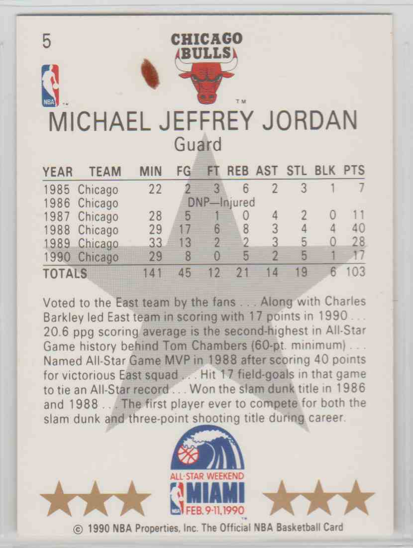 b2100bb4b74 Real card back image 1990-91 NBA Hoops All-Star Michael Jordan  5 card back  image