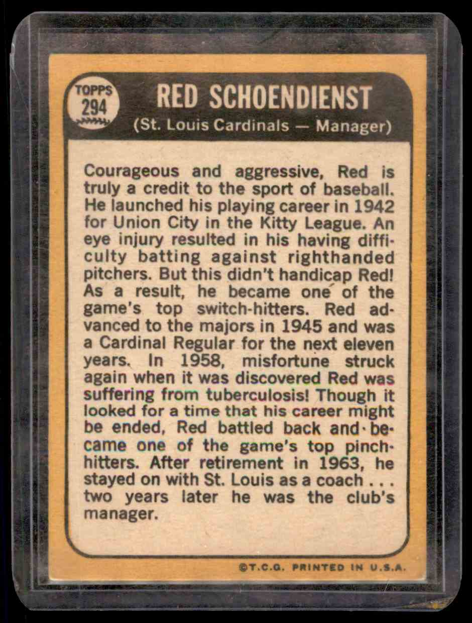 1968 Topps Red Schoendienst #294 card back image