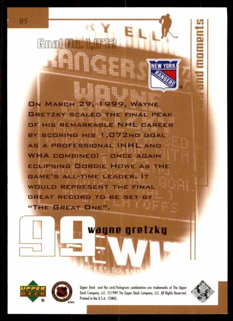 1999-00 Upper Deck Living Legend Wayne Gretzky (Goal 1,072) #95 card back image