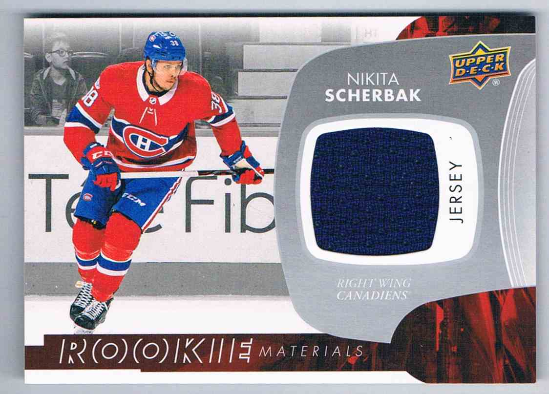 2017 18 Upper Deck Rookie Materials Nikita Scherbak Rm Ns On