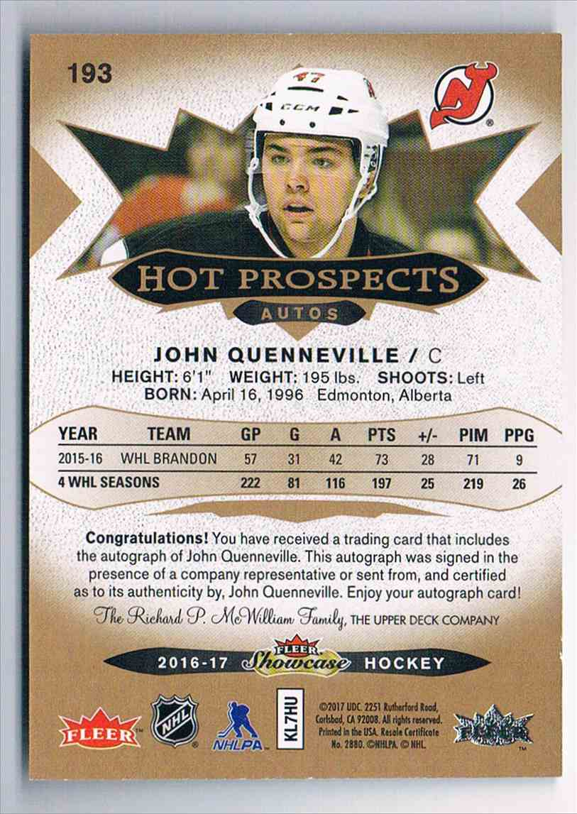 2016-17 Upper Deck Fleer Showcase Hot Prospects Autos John Quenneville #193 card back image