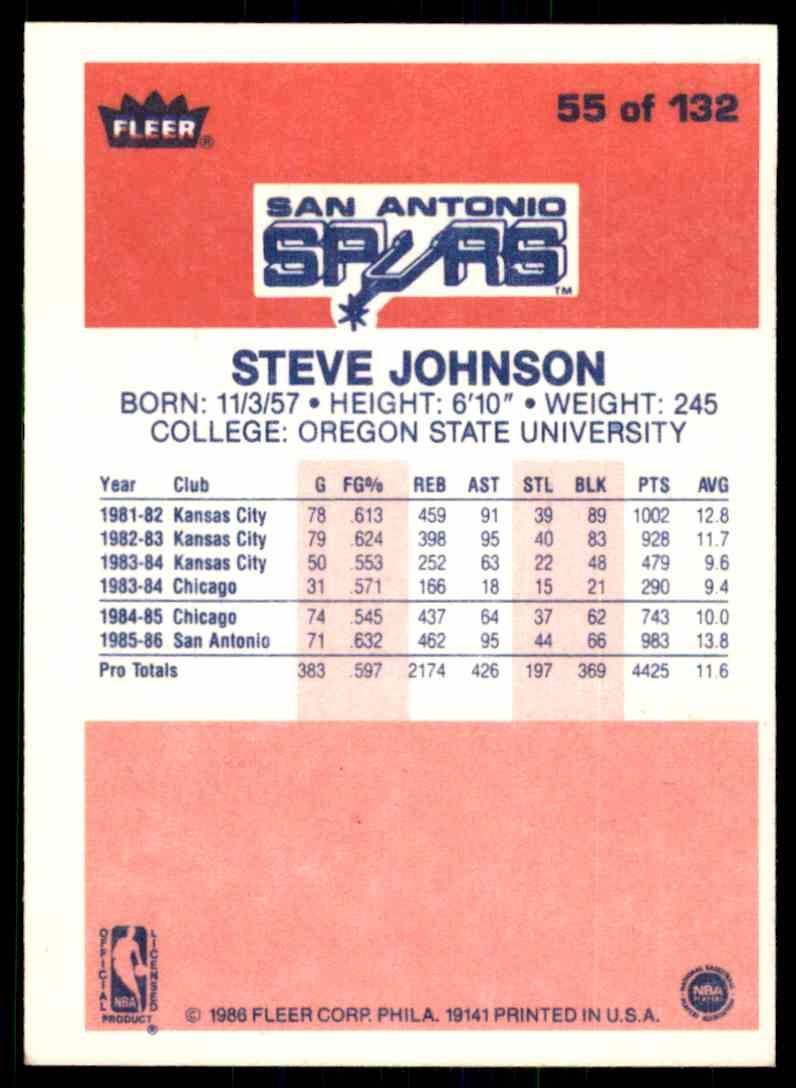 1986-87 Fleer Steve Johnson #55 OF 132 card back image