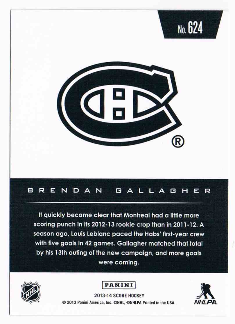 2013-14 Panini Score Gold Hot Rookies Brendan Gallagher #624 card back image