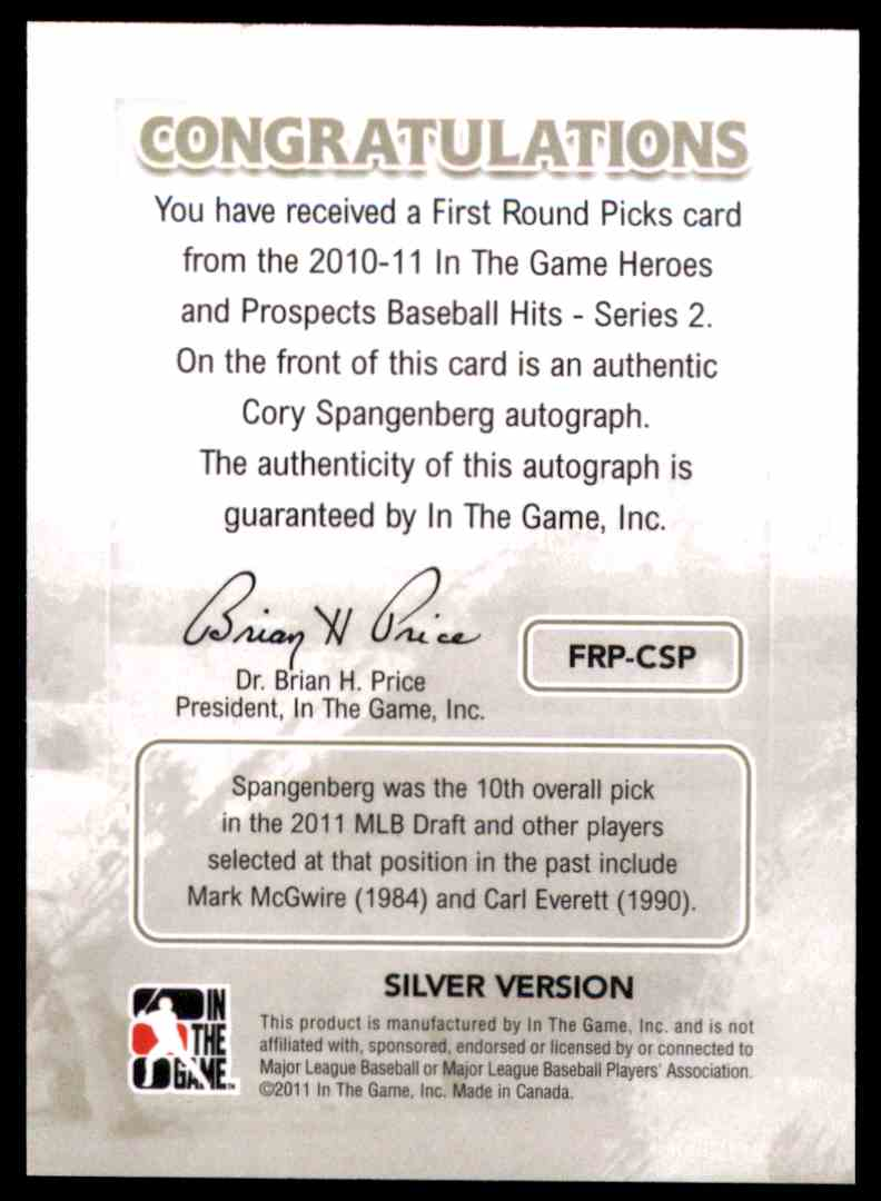 2011 ITG Heroes And Prospects Close Up Autographs Silver Cory Spangenberg #FRPCSP card back image