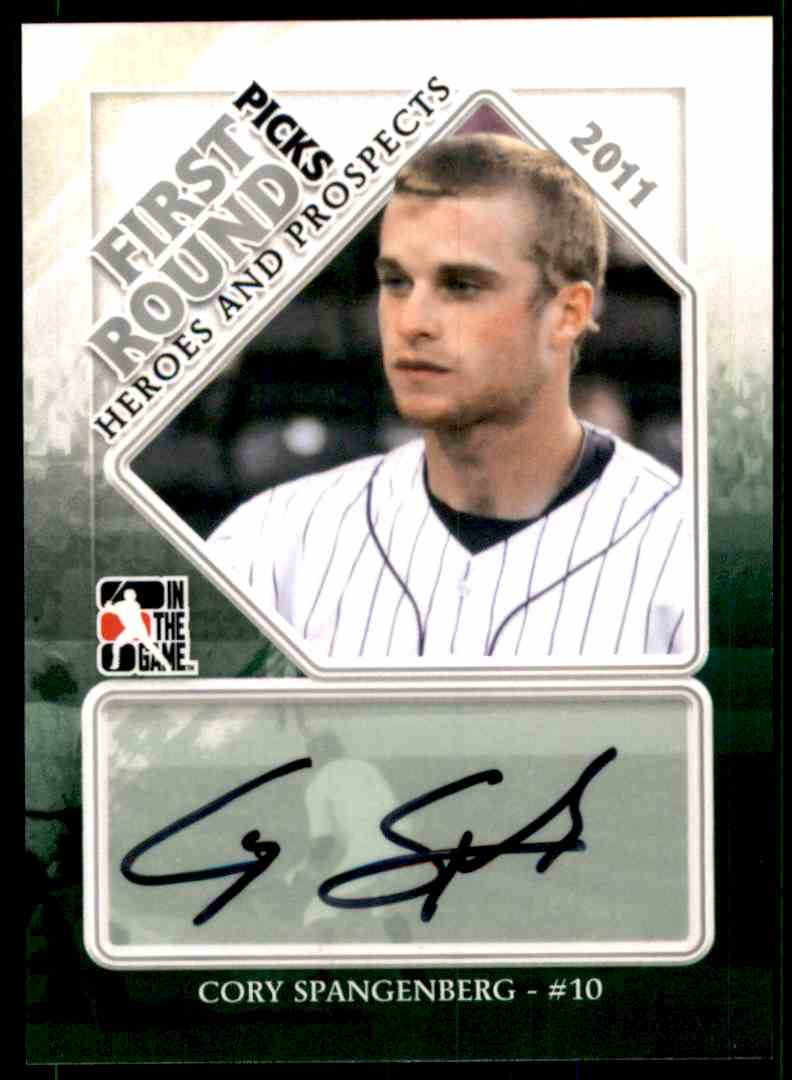 2011 ITG Heroes And Prospects Close Up Autographs Silver Cory Spangenberg #FRPCSP card front image