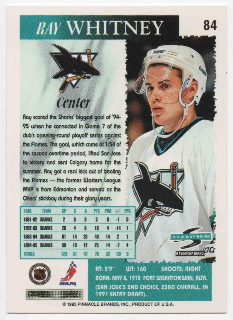 1995-96 Score Ray Whitney #84 card back image