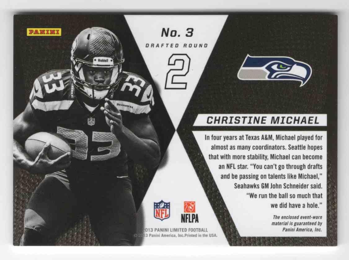 2013 Limited Rookie Jumbo Jerseys RC Logo Christine Michael #3 card back image