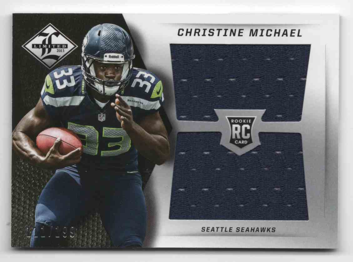 2013 Limited Rookie Jumbo Jerseys RC Logo Christine Michael #3 card front image