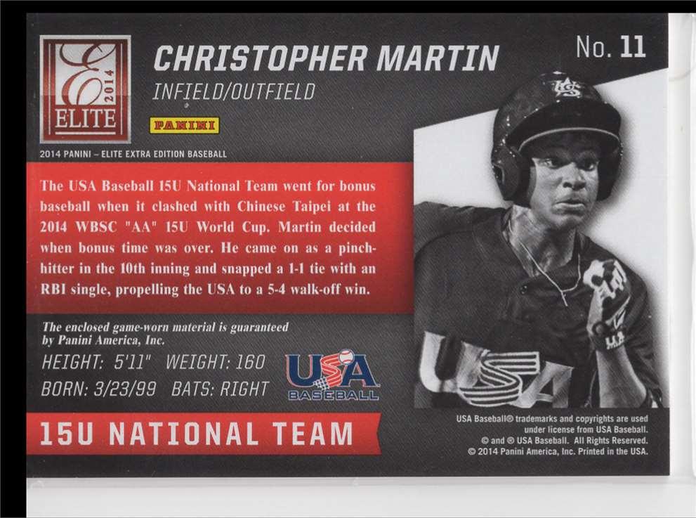 2014 Panini USA Baseball Elite Xtra Edition Christopher Martin #11 card back image