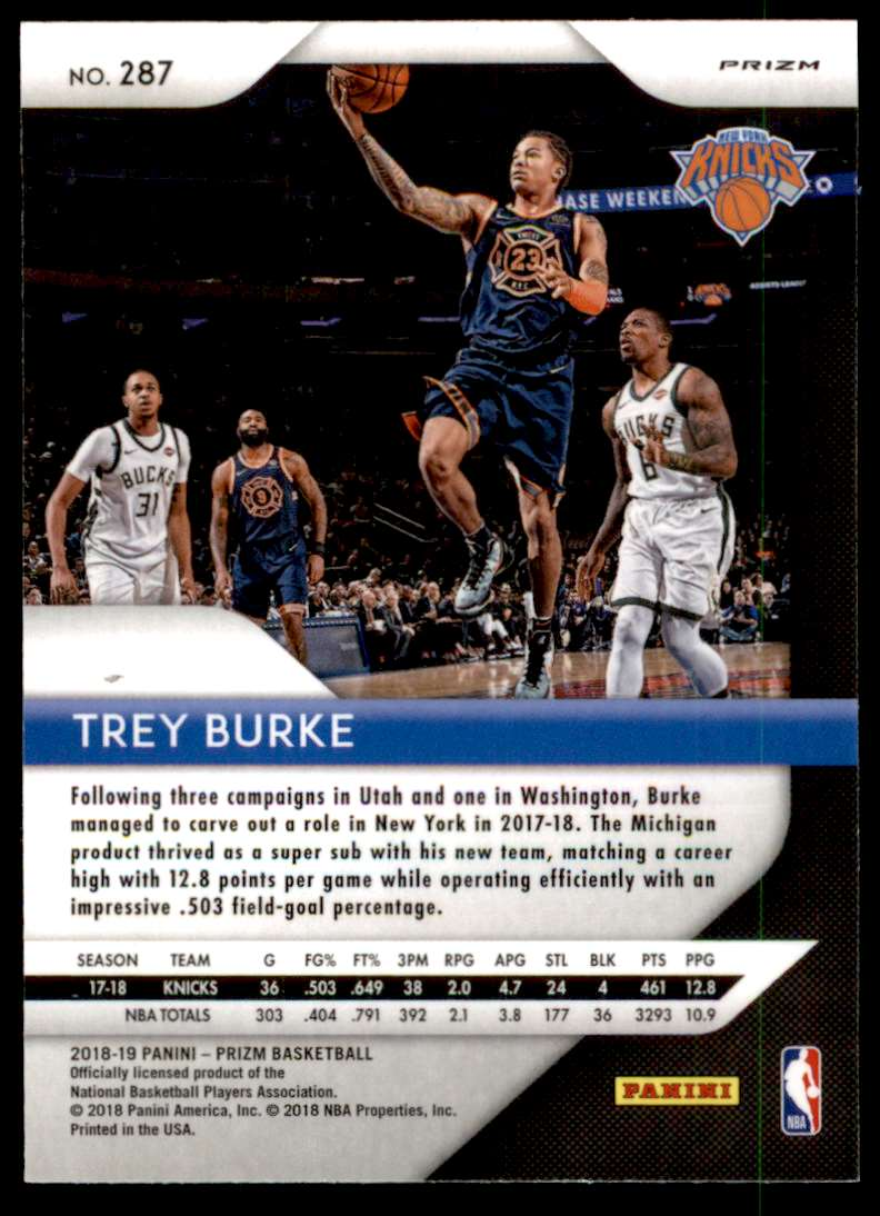 2018-19 Panini Prizm Trey Burke #287 card back image