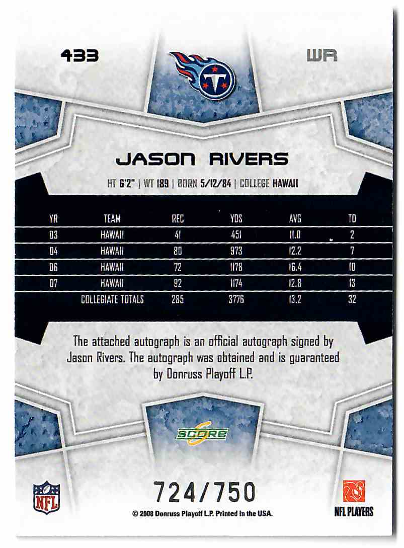 2008 Score Inscriptions Jason Rivers #433 card back image