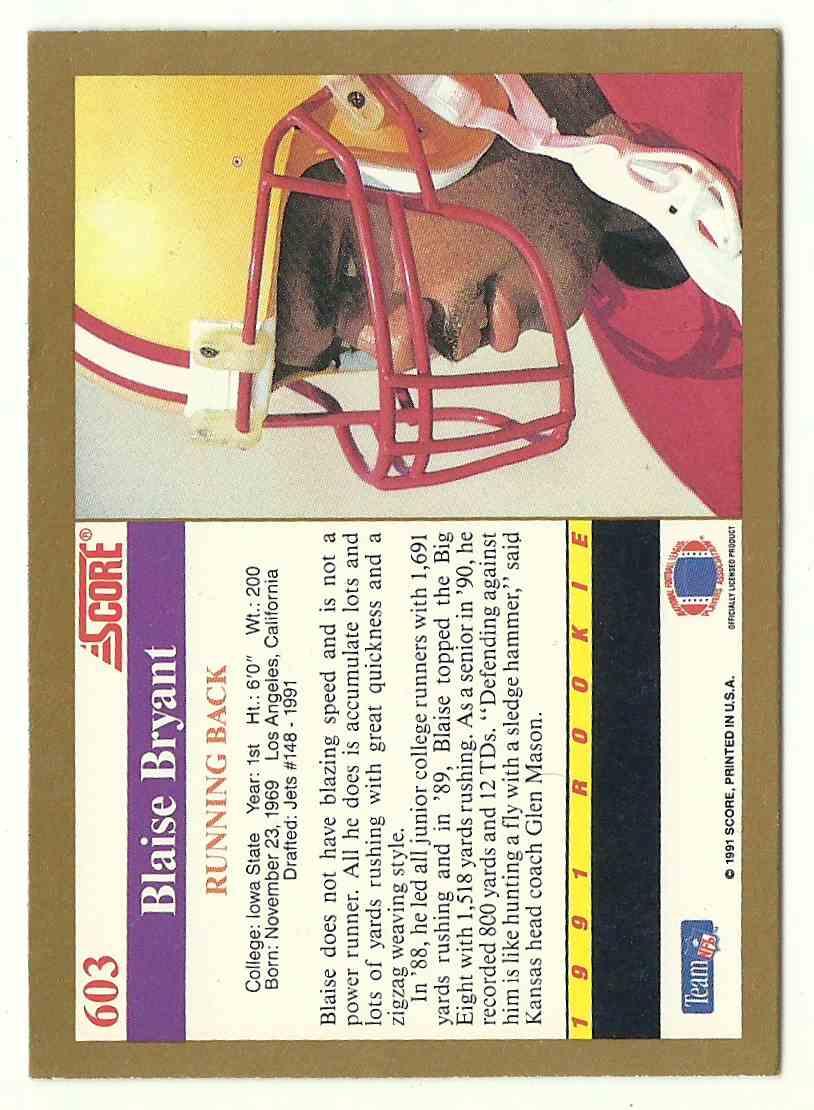 1991 Score Blaise Bryant #603 card back image