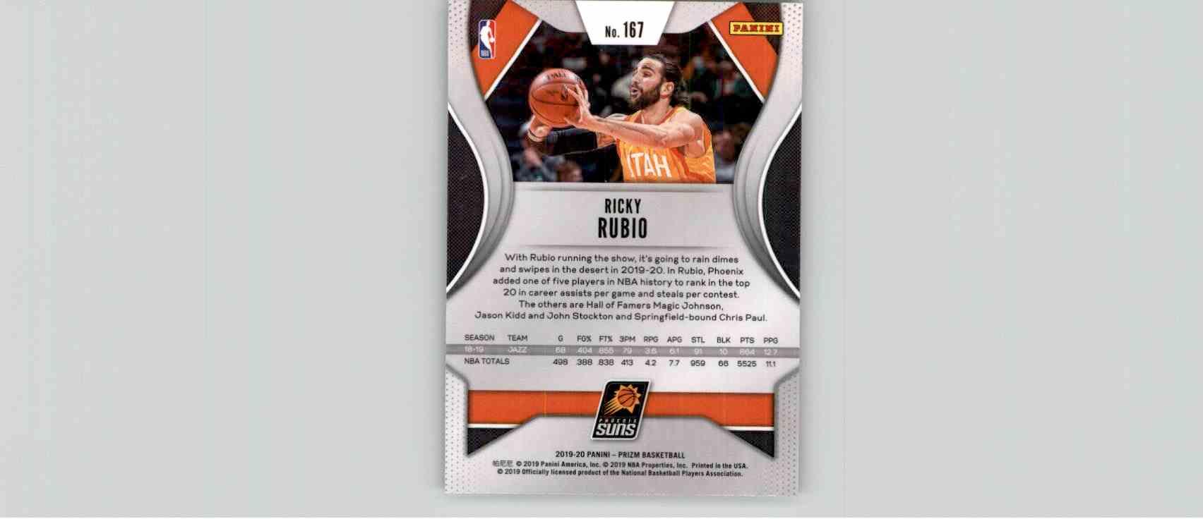 2019-20 Panini Prizm Basketball Prizm Ricky Rubio #167 card back image