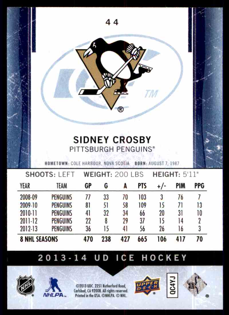 2013-14 Upper Deck Ice Sidney Crosby #44 card back image