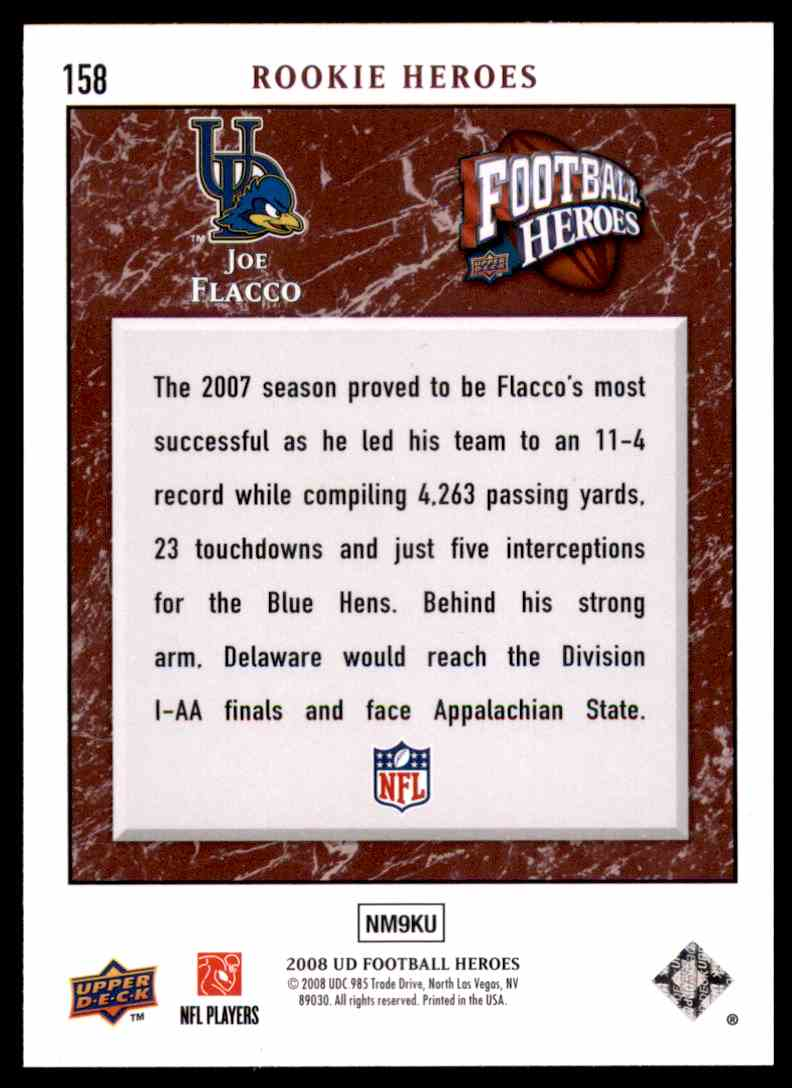 2008 Upper Deck Heroes Joe Flacco RC #158 card back image