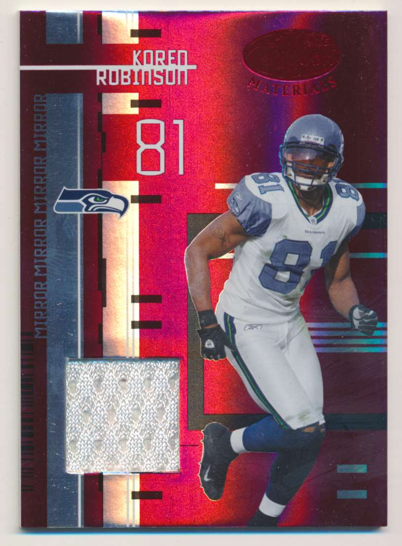 2005 Donruss Leaf Certified Materials Mirror Red Materials Koren Robinson #106 card front image