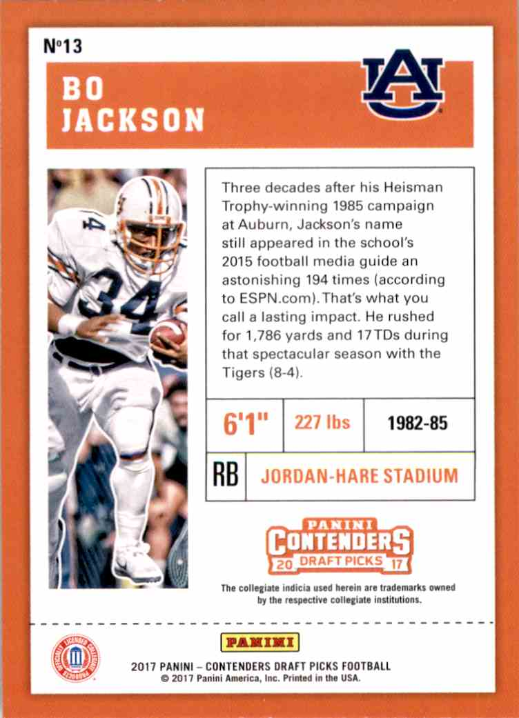 2017 Panini Contenders Draft Picks Bo Jackson #13 card back image