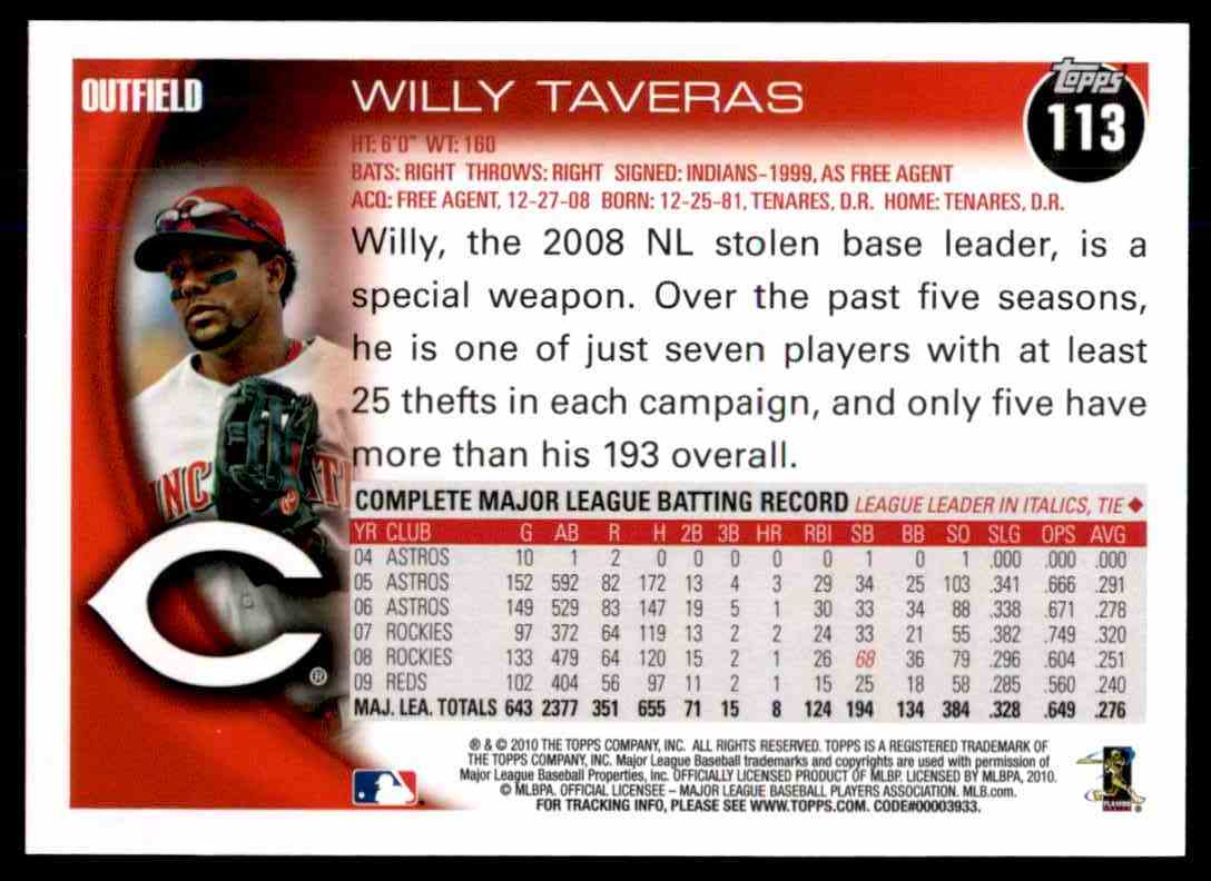 2010 Topps Willy Taveras #113 card back image