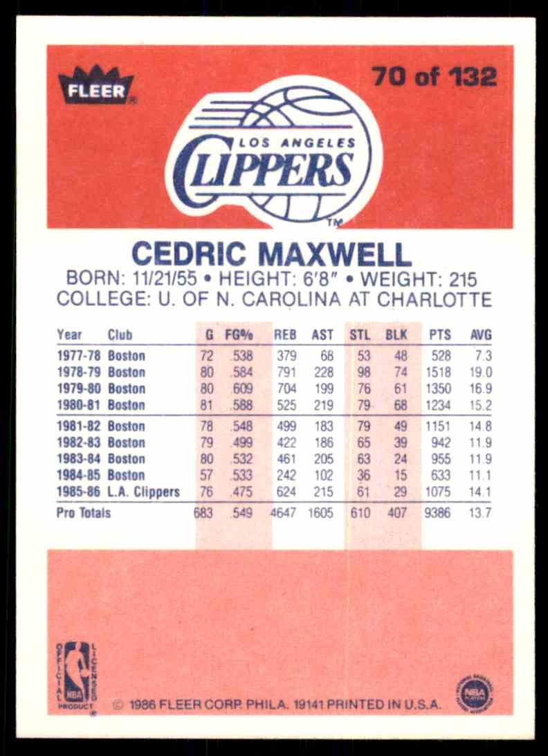 1986-87 Fleer Cedric Maxwell #70 OF 132 card back image