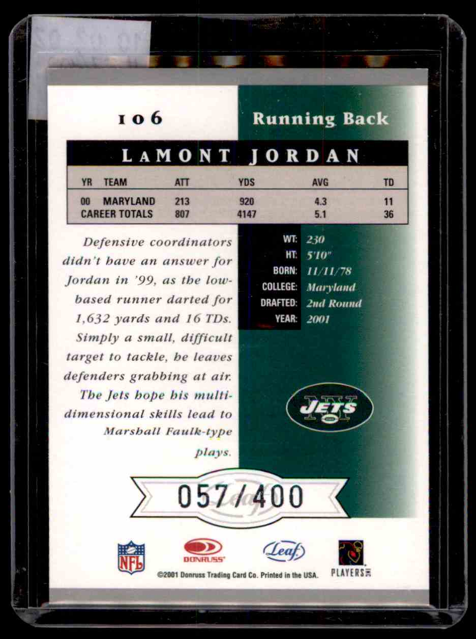 2001 Leaf Certified Materials Lamont Jordan #106 card back image