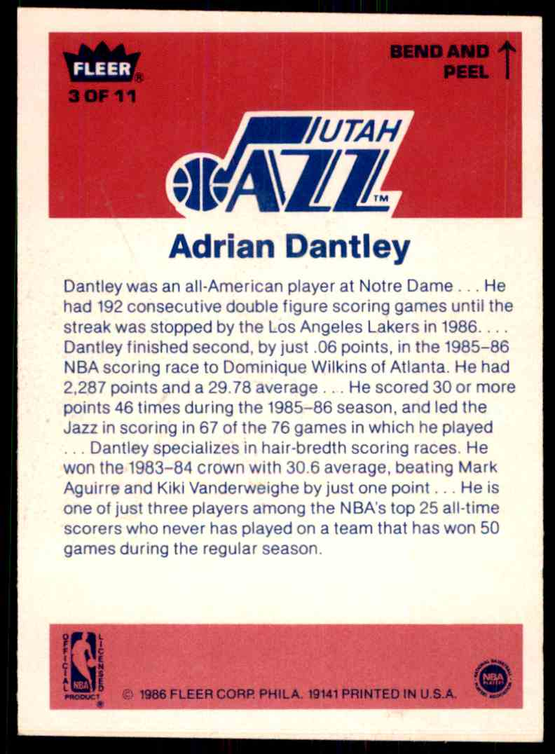 1986-87 Fleer Sticker Adrian Dantley-1 #3 OF 11 card back image
