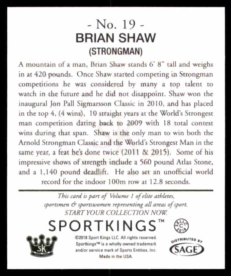 2018 Sportkings Black Back Retail Mini Brian Shaw #19 card back image