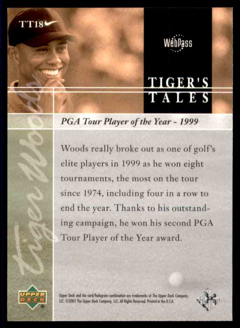 2001 Upper Deck Tiger's Tales Tiger Woods #TT18 card back image